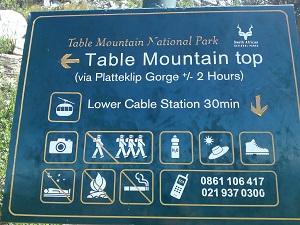テーブルマウンテンにある標識